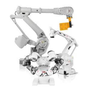 Two examples of robotic products by ABB including one that can lift a yellow 800KG weight and a robot with two working arms