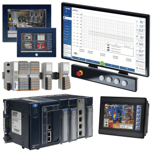 Five examples of logic control visualization products from brands like GE and Lenze including various types of monitors
