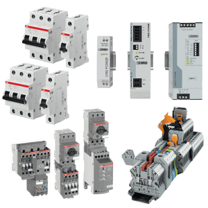 Nine different gray panel component products by ABB