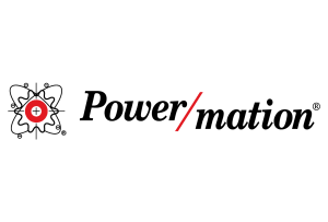 The word Power/mation in black with a red and black atom illustration next to it