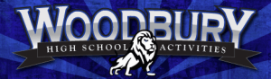 A blue rectangle with the words Woodbury High School Acitivities in gray with a white lion