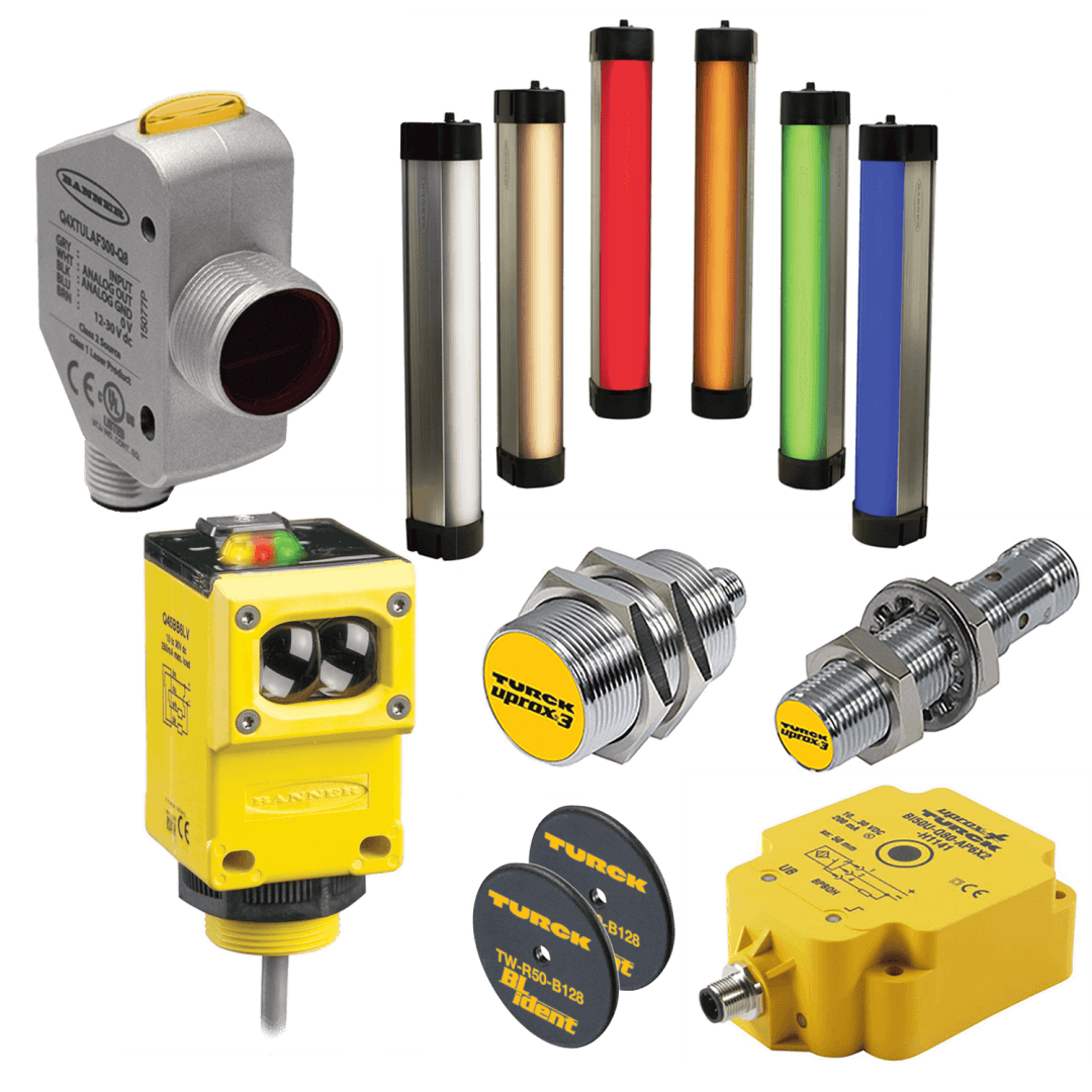Banner and Turck sensing inspection products including metal bolts, yellow inspection pieces, and silver, gold, red, orange, green, and blue sensing products