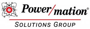 The word Power/mation in black with a red underline and the words Solutions Group underneath it with the Power/mation logo next to it