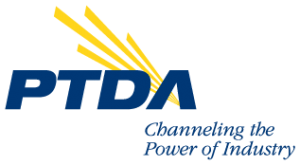 The words PTDA Channeling the Power of Industry in blue with yellow rays coming out of PTDA