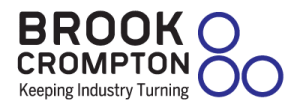 The words Brook Crompton Keeping Industry Turning in black with three blue circles to the right of it