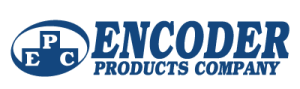 The words Encoder Products Company in dark blue with a navy blue circle to the left of it