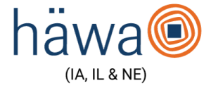 The word Hawa in blue letters with a large orange circle with two smaller orange circles and a blue rectangle to the right of it and the words (IA, IL & NE) underneath it in black