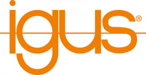 The letters igus lowercased and in orange with an orange line running through it