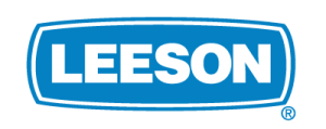 A blue rectangle with white outlining and the words Leeson centered inside of it in white