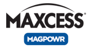 The word Maxcess in black with a black arc above it and a blue rounded rectangle below it with the word MAGPOWR in white