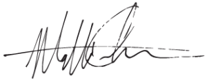 Matt Carlson's signature in black ink