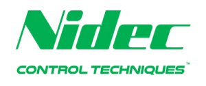 The word Nidec in green with the words control techniques in green underneath it