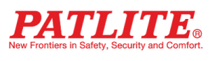 The words Patlite New Frontiers in Safety, Security and Comfort in bright red
