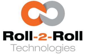 Two orange and gray linked circles with the words Roll-2-Roll in black underneath it and the word Technologies in gray underneath that
