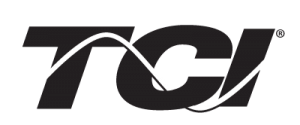 The letters TCI in large black lettering with a white curved line covering all three letters