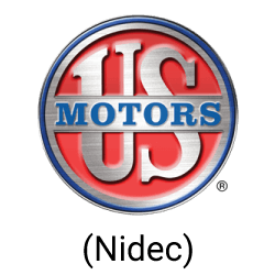 A silver circle with a red interior and the words US Motors centered in the circle