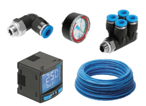 Five small parts including a pressure gauge, blue cables, two blue and black plastic parts, and a monitor that reads 2.50