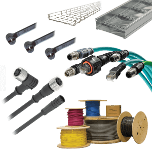 Six examples of connector and cabling products including teal, black, gray, red, blue, and yellow cabling