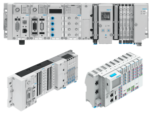 Three light gray, blue, and black control technology boxes by Festo