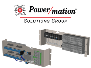 Two renderings of pneumatic parts colored in gray, black, blue, and green with the Power/mation Solutions Group logo above it