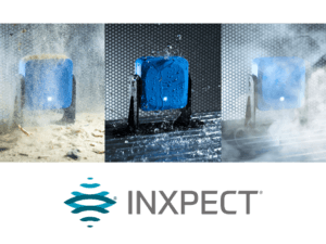 A blue Inxpect motion sensor shown in three different scenarios such as water, steam, and sand with the Inxpect logo underneath it