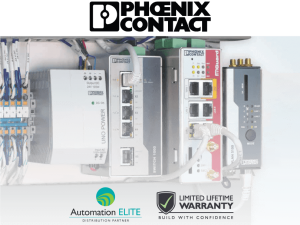 Phoenix Contact logo in black above four industrial communication technology boxes with the words automation elite and limited lifetime warranty underneath it