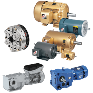 Seven gold, blue, teal, and gray power transmission products