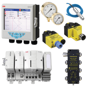 ABB and Turck process automation products including ABB monitors, pressure gauges, and blue cables