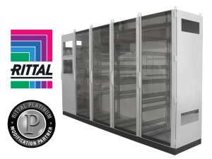 Rittal logo above the Rittal Platinum Modification Partner logo positioned next to a large enclosure